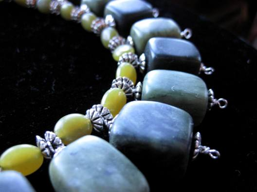 Serpentine, Olive Jade and Sterling Silver Necklace by the Binder's Apprentice
